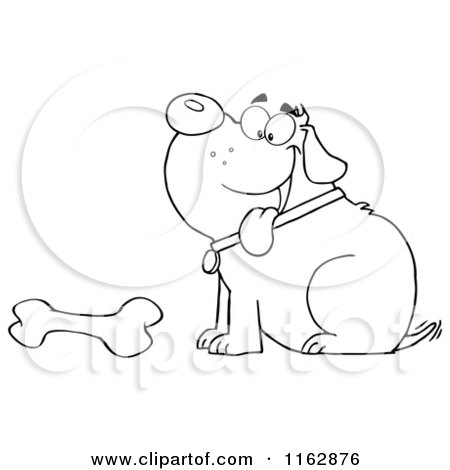Cartoon of an Outlined Chubby Dog Sitting with a Bone - Royalty Free Vector Clipart by Hit Toon