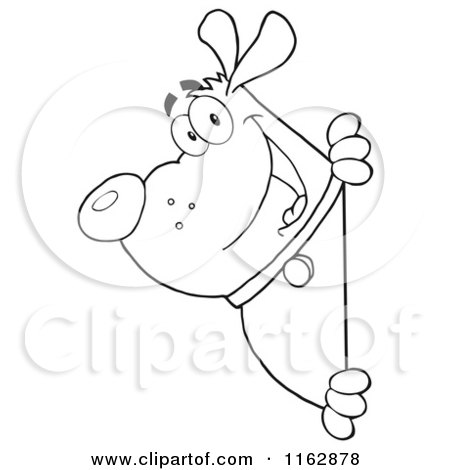 Cartoon of an Outlined Chubby Dog Looking Around a Sign - Royalty Free Vector Clipart by Hit Toon