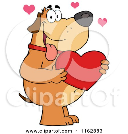 Cartoon of a Happy Chubby Brown Dog Holding a Red Valentine Heart - Royalty Free Vector Clipart by Hit Toon