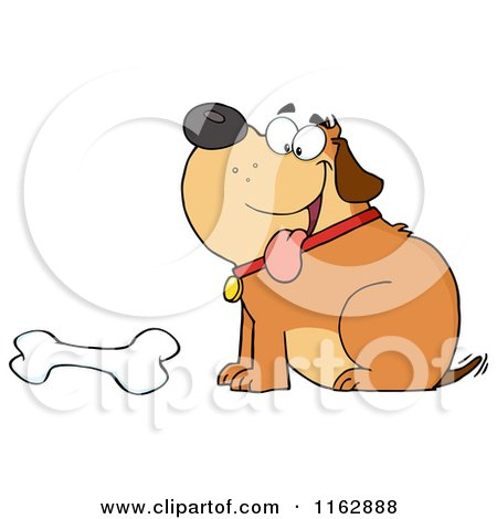 Cartoon of a Happy Chubby Brown Dog Sitting by a Bone - Royalty Free Vector Clipart by Hit Toon