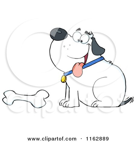 Cartoon of a Happy Chubby White Dog Sitting by a Bone - Royalty Free Vector Clipart by Hit Toon