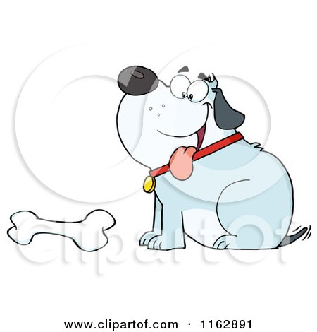 Cartoon of a Happy Chubby Blue Dog Sitting by a Bone - Royalty Free Vector Clipart by Hit Toon