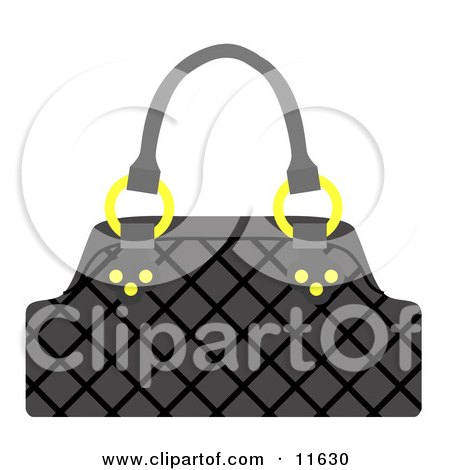 Black Handbag Purse With Golden Rings Clipart Picture by AtStockIllustration