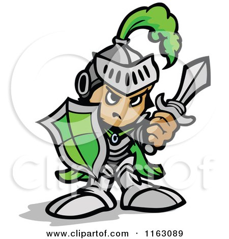 Cartoon of a Tough Knight in Green Holding up a Shield and a Sword - Royalty Free Vector Clipart by Chromaco
