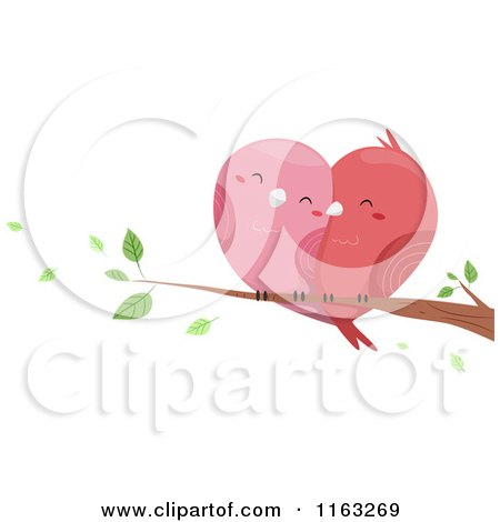 Cartoon of Cuddling Love Birds Forming a Heart on a Branch - Royalty Free Vector Clipart by BNP Design Studio