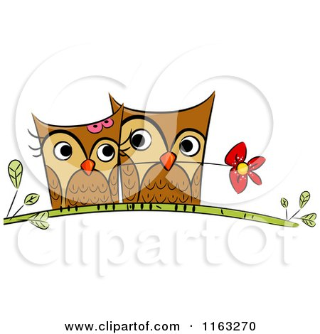 Cartoon of a Cute Owl Pair Cuddling on a Branch with a Flower - Royalty Free Vector Clipart by BNP Design Studio