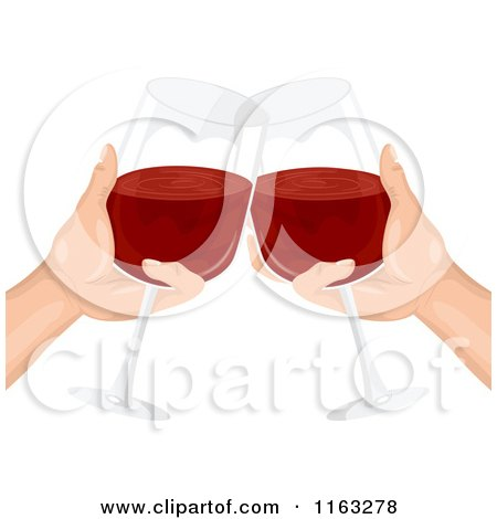 Cartoon of a Pair of Hands Clinking Their Wine Glasses Together in a Toast - Royalty Free Vector Clipart by BNP Design Studio