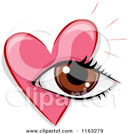 Cartoon of a Pink Heart and Eye - Royalty Free Vector Clipart by BNP Design Studio