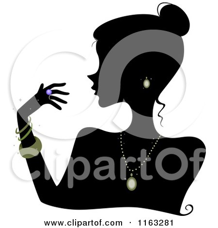 Cartoon of a Silhouetted Woman Wearing Jewelery - Royalty Free Vector Clipart by BNP Design Studio
