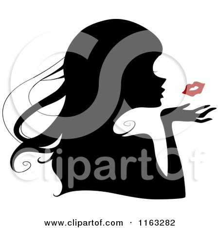 Cartoon of a Silhouetted Woman Blowing a Red Kiss - Royalty Free Vector Clipart by BNP Design Studio