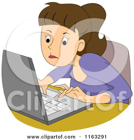 Cartoon of a Determined Female Author Blogger or Student Typing on a Laptop - Royalty Free Vector Clipart by BNP Design Studio