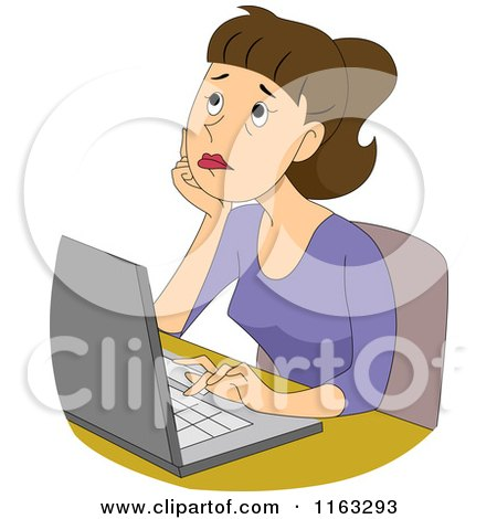 Cartoon of a Thinking Female Author Blogger or Student Typing on a Laptop - Royalty Free Vector Clipart by BNP Design Studio