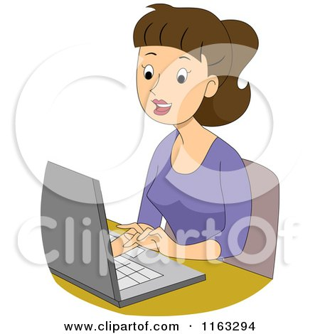 Cartoon of a Happy Female Author Blogger or Student Typing on a Laptop - Royalty Free Vector Clipart by BNP Design Studio