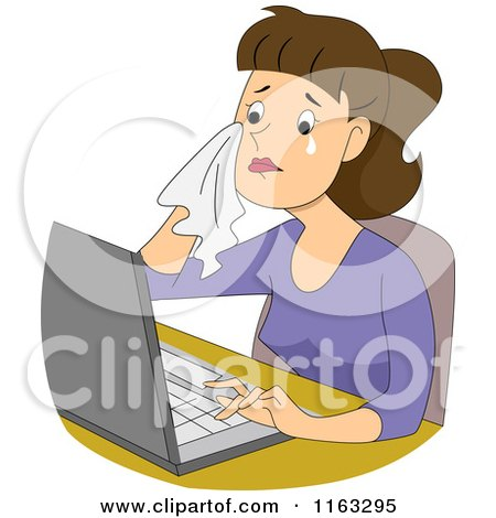 Cartoon of a Crying Female Author Blogger or Student Typing on a Laptop - Royalty Free Vector Clipart by BNP Design Studio