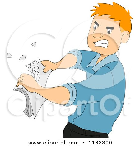 Cartoon of a Male Author or Student Ripping up Papers - Royalty Free Vector Clipart by BNP Design Studio