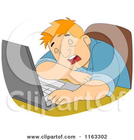Cartoon of a Tired Male Author or Student Sleeping by a Laptop - Royalty Free Vector Clipart by BNP Design Studio