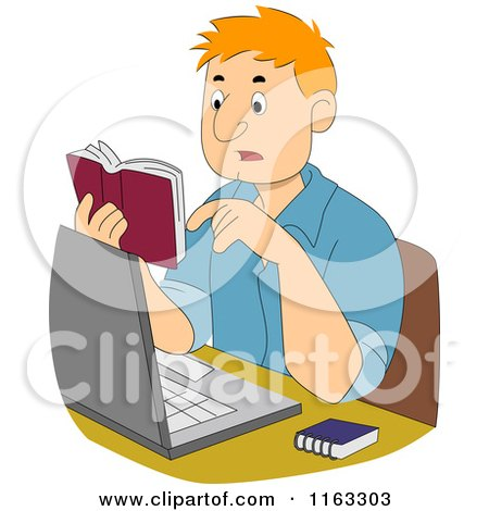 Cartoon of a Male Author or Student Reading a Dictionary over His Laptop - Royalty Free Vector Clipart by BNP Design Studio