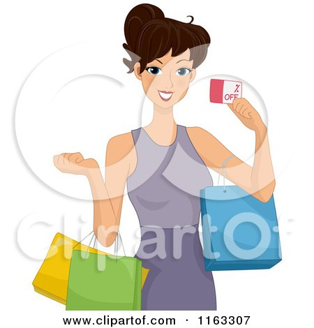 Cartoon of a Woman Shopping and Holding a Coupon - Royalty Free Vector Clipart by BNP Design Studio