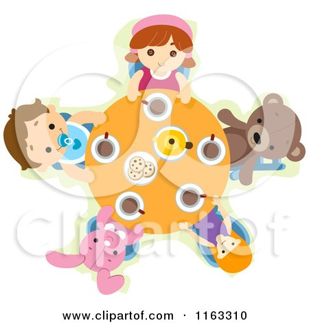 Cartoon of Children and Toys at a Tea Party Table - Royalty Free Vector Clipart by BNP Design Studio
