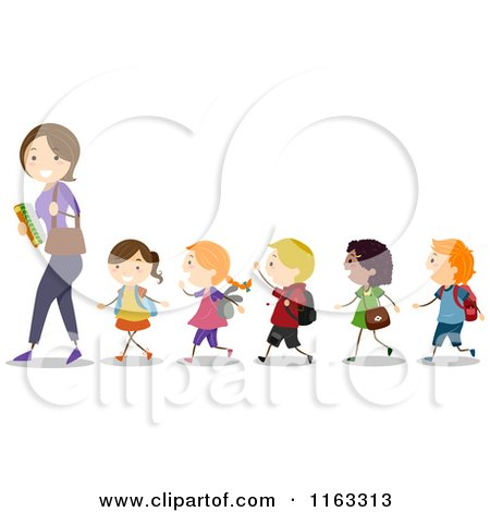 Cartoon of a Female Teacher Leading a Line of Diverse Children - Royalty Free Vector Clipart by BNP Design Studio