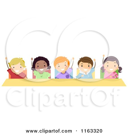 Cartoon of Happy Diverse Students Raising Their Hands at a Desk - Royalty Free Vector Clipart by BNP Design Studio