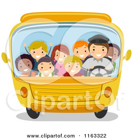 Cartoon of Happy Diverse Children and a Driver in a Packed School Bus - Royalty Free Vector Clipart by BNP Design Studio