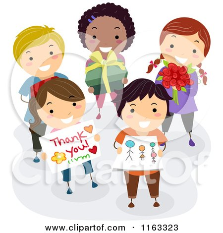 Cartoon of a Diverse Group of School Children Holding Gifts for Their Teacher - Royalty Free Vector Clipart by BNP Design Studio