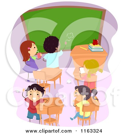 Cartoon of Diverse Children Making a Mess in a Class Room - Royalty Free Vector Clipart by BNP Design Studio