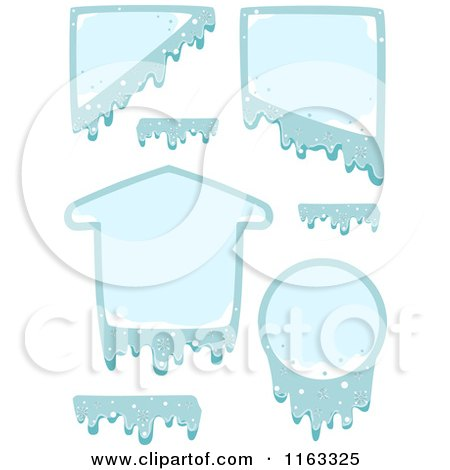 Cartoon of Frozen Design Elements and Frames - Royalty Free Vector Clipart by BNP Design Studio