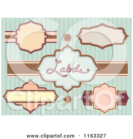 Cartoon of Vintage Labels over Stripes - Royalty Free Vector Clipart by BNP Design Studio