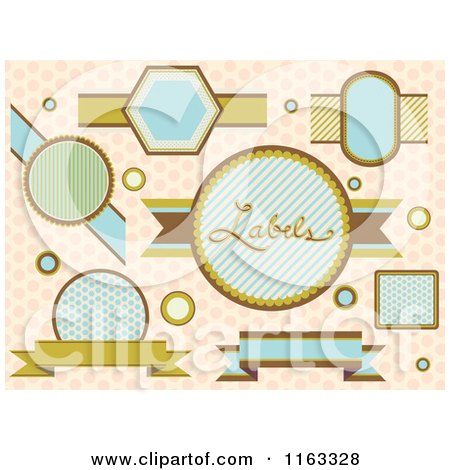 Cartoon of Vintage Labels over Polka Dots - Royalty Free Vector Clipart by BNP Design Studio