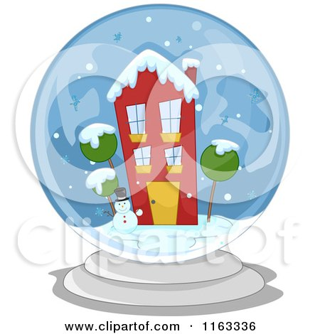 Cartoon of a Snowman and Winter House in a Snow Globe - Royalty Free Vector Clipart by BNP Design Studio