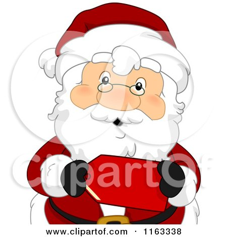 Cartoon of Santa Holding a Red Sales Tag - Royalty Free Vector Clipart by BNP Design Studio