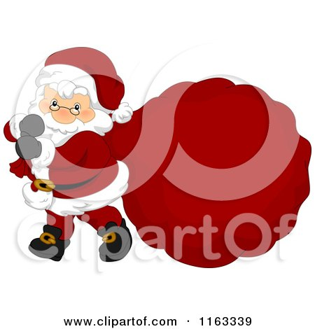 Cartoon of Santa Carrying a Large Sack with Copyspace - Royalty Free Vector Clipart by BNP Design Studio