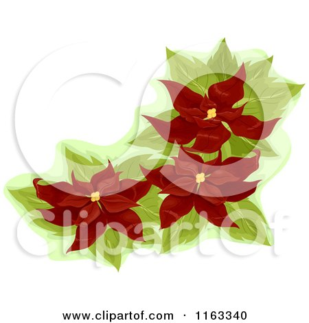 Cartoon of a Red Poinsettia Corner Design Element - Royalty Free Vector Clipart by BNP Design Studio