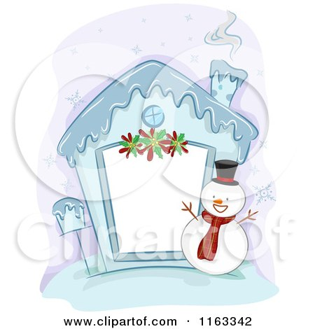 Cartoon of a Frozen Christmas House Frame with a Snowman - Royalty Free Vector Clipart by BNP Design Studio