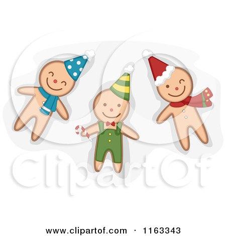Cartoon of Happy Ginger Bread Men Cookies Wearing Hats - Royalty Free Vector Clipart by BNP Design Studio