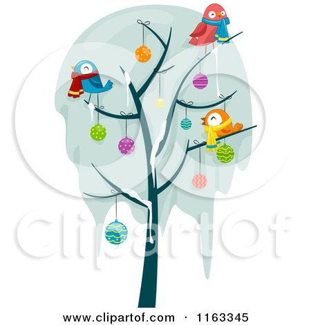 Cartoon of a Frozen Bare Tree with Snow Christmas Baubles and Birds - Royalty Free Vector Clipart by BNP Design Studio
