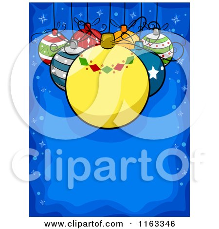 Cartoon of a Christmas Background of Baubles Suspended over Blue Copyspace - Royalty Free Vector Clipart by BNP Design Studio