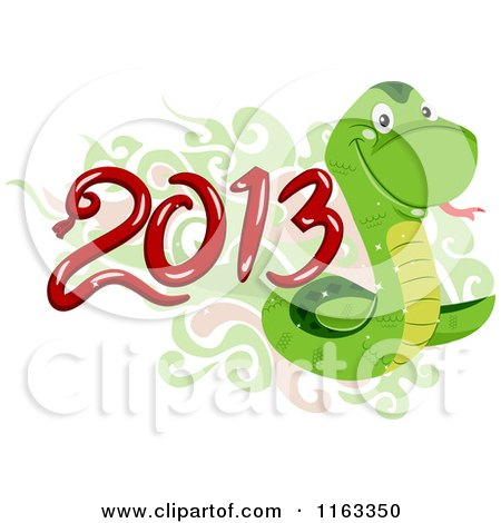 Cartoon of a Green Snake with Oriental Swirls and Year 2013 - Royalty Free Vector Clipart by BNP Design Studio