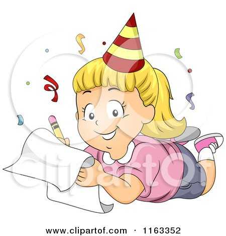 Cartoon of a Happy Blond Girl Wearing a Party Hat and Writing down His New Year Resolutions - Royalty Free Vector Clipart by BNP Design Studio