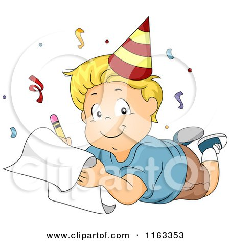 Cartoon of a Happy Blond Boy Wearing a Party Hat and Writing down His New Year Resolutions - Royalty Free Vector Clipart by BNP Design Studio