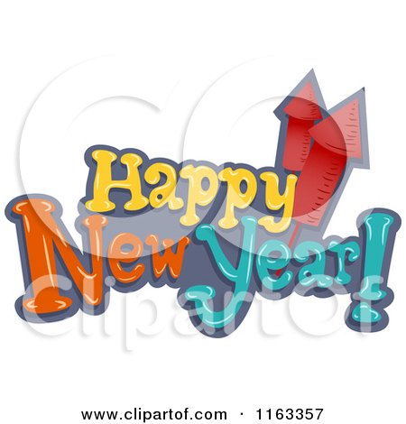 Cartoon of Happy New Year Text with Rocket Fireworks - Royalty Free Vector Clipart by BNP Design Studio