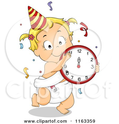 Cartoon of a Dancing New Year Baby Girl with a Clock and Confetti - Royalty Free Vector Clipart by BNP Design Studio