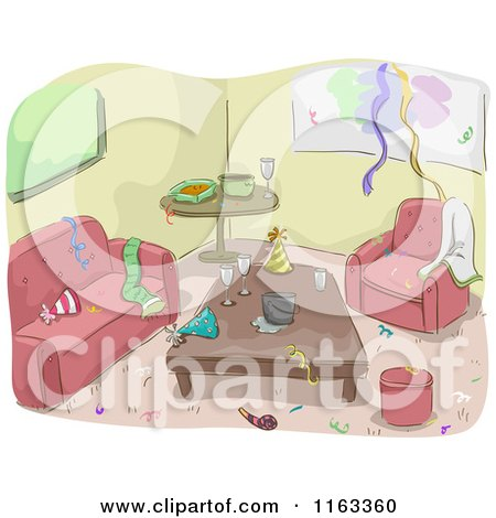 Cartoon of a Messy Living Room After a Party - Royalty Free Vector Clipart by BNP Design Studio