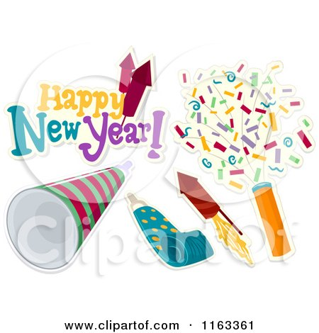 Cartoon of a Happy New Year Greeting and Party Icons - Royalty Free Vector Clipart by BNP Design Studio