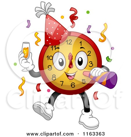 Cartoon of a New Year Party Clock with Champagne and a Horn - Royalty Free Vector Clipart by BNP Design Studio