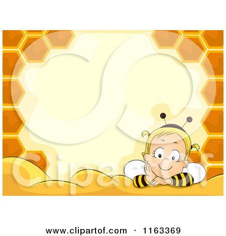 Cartoon of a Baby Girl in a Bee Costume Inside a Honeycomb Frame with Copyspace - Royalty Free Vector Clipart by BNP Design Studio