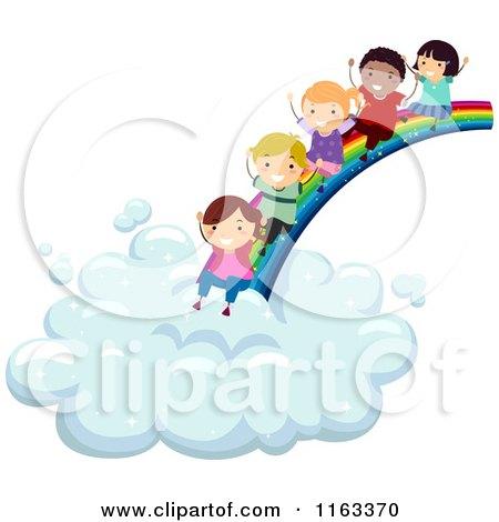cartoon of happy diverse children sliding from a rainbow to a cloud rh clipartof com Zodiac Signs Clip Art Ukulele Clip Art