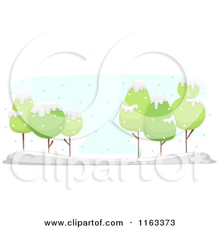 Cartoon of a Winter Landscape of Green Trees in the Snow - Royalty Free Vector Clipart by BNP Design Studio
